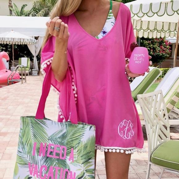 ab26e7aad52bd Jordann Swim | Hot Pink With White Pom Pom Trim Cover Up | Poshmark